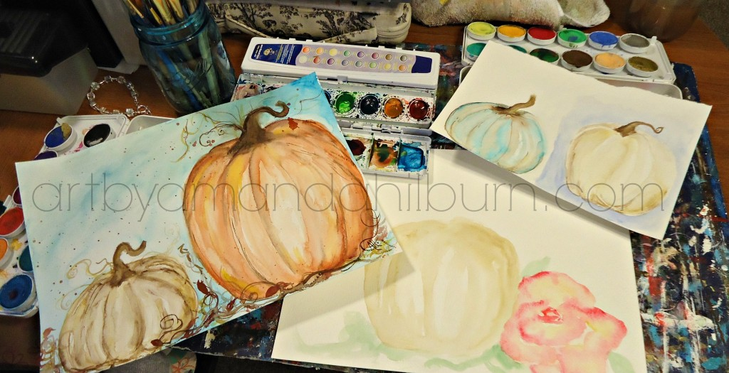Watercolor pumpkin practice